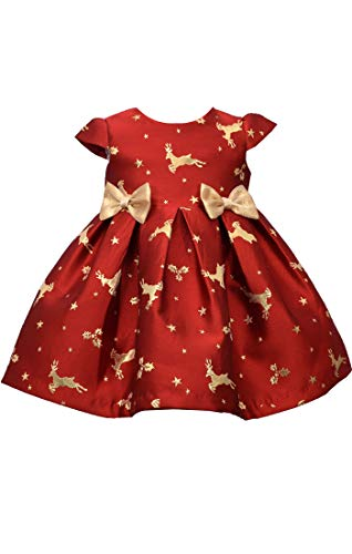Bonnie Baby Holiday Dresses Girls Christmas Dress (Red Reindeer, 12 Months)