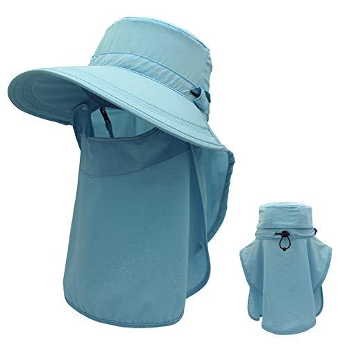 Sombrero para el sol Unisex, Gorra de Pesca con Protección UV de ala ancha y Cuerda Ajustable a Prueba de Viento, para Playa/Viajes/al aire Libre,5,M