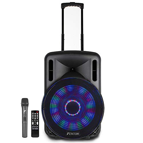 Fenton Portable DJ PA Speaker System 15' 800w Bluetooth Music Lights and Wireless Microphone Battery Powered