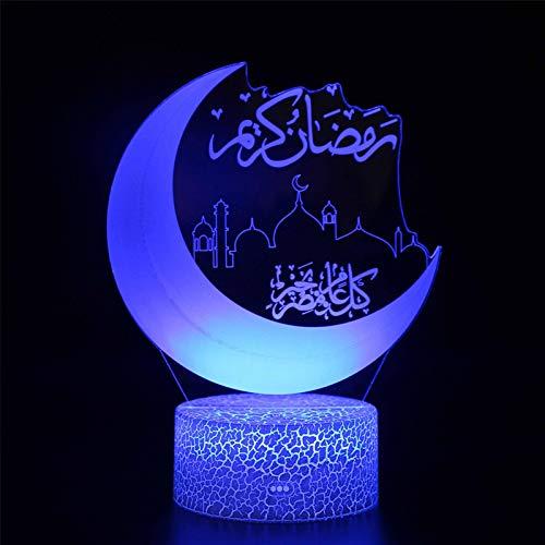 B/C LED Ramadan Decoration Light, 3D Table Lamp Desktop Led Ramadan Decoration Light with Remote Control, 16 Colors Eid Moonlight Lamp Ramadan Gift for Home Decor