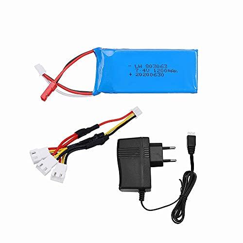 Batería Lipo de 7,4 v 1200 mAh para Yizhan Tarantula X6 H16 MJX X101 X102h RC Drone 2S batería y Cargador para WLtoys V666 V262 V323 1pcs3in1EU