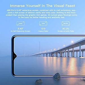 """Blackview® A80 Pro 2020 Teléfono Móvil Libres 4G, Pantalla HD + de 6.49"""", 4GB RAM+64GB ROM, Cuatro Cámaras, Batería de 4680 mAh, Grosor de 8.8 mm, Smartphone Android 9.0, Dual SIM,Tipo C (EU Versión)"""
