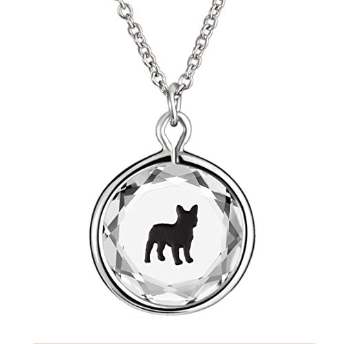 LovePendants 16-18' Pendant/Necklace in White Swarovski Crystal with Black Enameled French Bulldog Engraving in Sterling Silver.