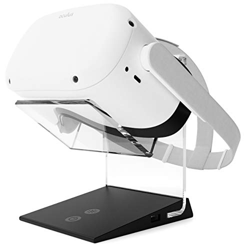 Illuminated Charging VR Stand – Universally Compatible with Oculus Quest 2, Quest 1, HTC Vive, Rift-s, Go, Cosmos, PSVR, Index and All Standard Sized VR Headsets | Aura