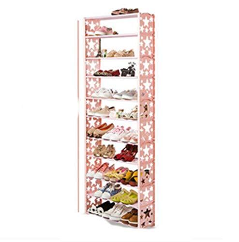 Simple multi-capas estrella combinación zapatos estante breve zapato estante de almacenamiento moderno zapato estante-11 capa rosa estrella