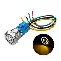 LiWen Zheng 19ミリメートルメタル防水12 / 24V 5ピンのON-OFF押しボタンスイッチLED電源スイッチ (Color : Yellow, Size : 12V)