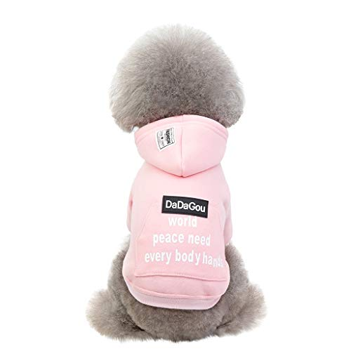 Longra Vestiti per Cani Felpa Cappotto con Cappuccio E Grande Tasca Autunno E Inverno Hooded Vestiti Eleganti Maglione Maglia Caldo Maglieria per Cani Pet Dog Shirt Puppy