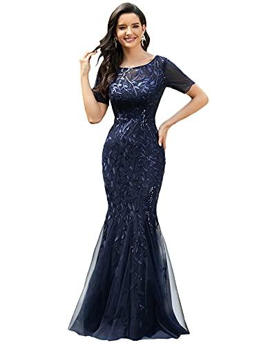 Ever-Pretty Vestito da Festa Donna Sirena Paillettes Tulle Abito da Sera Manica Corta Lungo Blu Navy 48