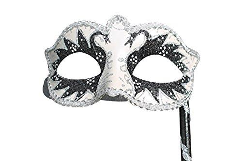 The good Life Dames Noir ET Argent ÉTINCELANT VÉNITIEN Mascarade Masque ET BÂTON