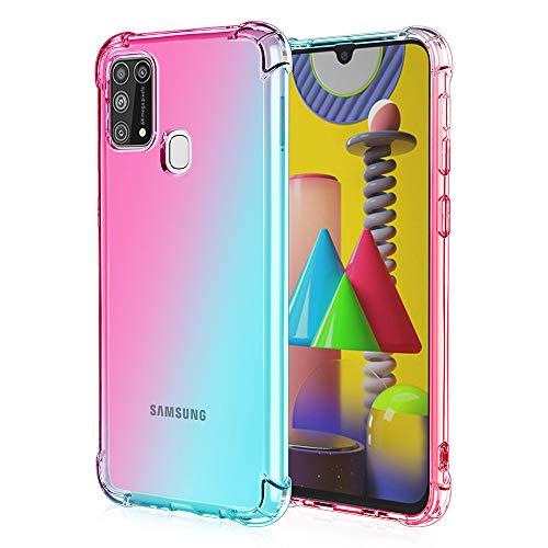 FANFO Hülle Kompatibel mit Samsung Galaxy M31/M21S Hülle, Farbverlauf Transparent Soft TPU Handyhülle, Weiche Silikon Cover Schock Absorption Schutzhülle, Pink-Grün