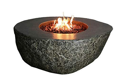 Kaminlicht Gas-Feuertisch Vesuv aus Faserbeton braun Basaloptik Feuerstelle Feuertisch rund Garten