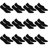 REFLEXX 6er und 12er Pack Invisible Socks - kurze Sneaker Socken Damen Sneaker Socken Herren mit 97prozent Baumwolle (12er Pack Schwarz, 43-46)