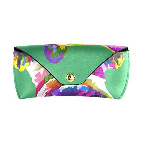 ZZCDD Funny French Bulldog Eyeglasses Case Sunglasses Organizer Magnetic Snap Button Eyeglasses Holder Portable PU Leather Soft Sunglasses Case Eyeglasses Storage
