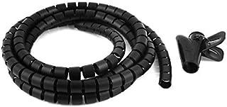 1,5m * 15mm Diametro Interno Negro Cable Espiral Organizador Envolvente w Clip Para Cables SODIAL R Cable Organizador