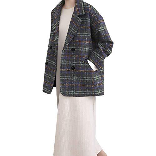 Geruite erwtenjas voor dames, halflang, los, comfortabel, warm, normaal, elegant, gekerfd kraagje met dubbele rij knopen XL