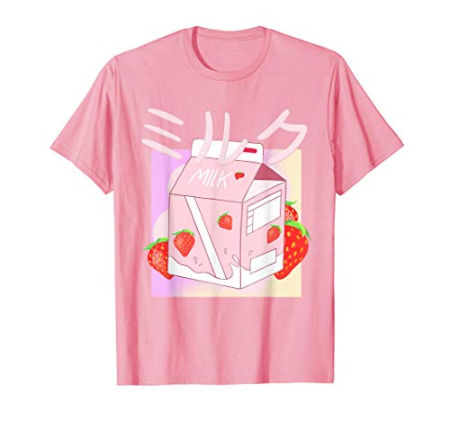 Funny Retro 90s Japanese Kawaii Strawberry Milk Shake Carton T-Shirt