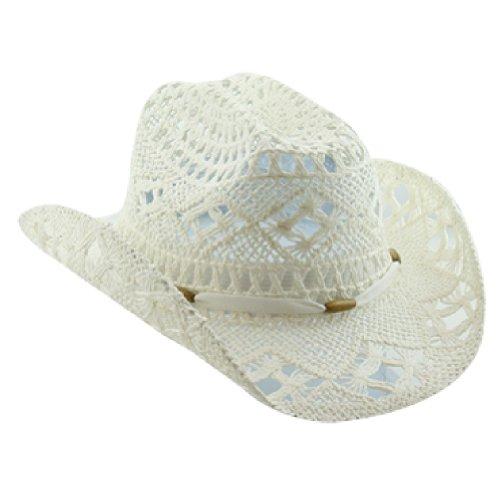 White Stylish Toyo Straw Beach Cowboy Hat W/Shapeable Brim, Boho Modern Cowgirl