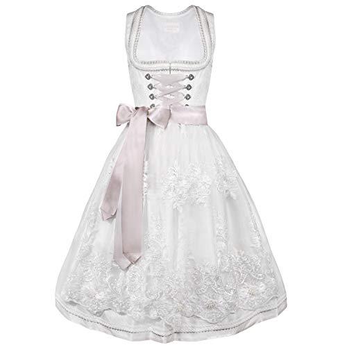 Krüger Collection Damen Trachten-Mode Midi Hochzeitsdirndl Lola in Ecru traditionell, Größe:32, Farbe:Ecru