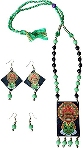Aarav Art's Traditional Kathakali Handcrafted Necklace and Two Ear Ring Set Jewellery for Women and Girls (Color-Multicolor, Size: Free)