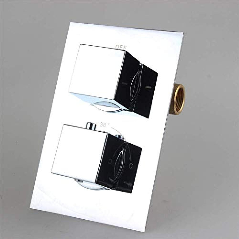 HONGSHENG Messing Thermostat Duschventil - Mischbatterie Quadrat 2 Zifferblatt 2, Mischwassertemperatur Einstellen