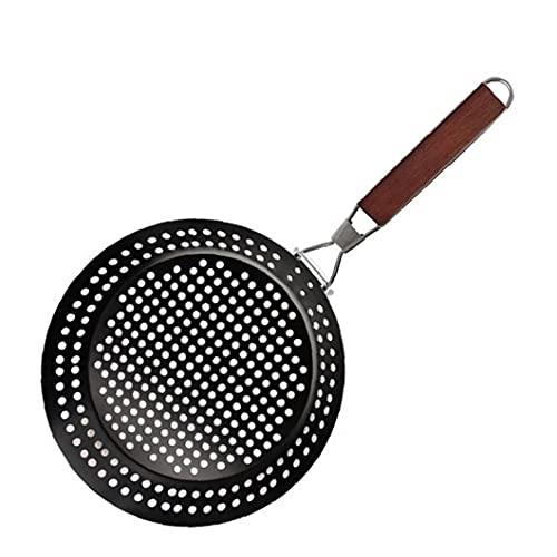 Bbq Frying Grill Pan Greque in Acciaio Inox Barbeque Porta Vassoio a Rete Con Maniglia Pieghevole Black Griddles