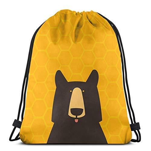 XCNGG Bolsa con cordón Bolsa con cordón Bolsa portátil Bolsa de gimnasio Bolsa de compras Bundle Backpack Outdoor Shopping Knapsack Black Bear Honeycomb Rope-Pulling Bag Sports Bag Suitable for Fitnes