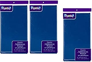 3-PACK DISPOSABLE PLASTIC TABLE COVERS / TABLECLOTHS (NAVY BLUE), 54 x 108 inches each(Packaging May Vary)