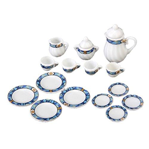 SM SunniMix 1:12 Miniatura 15PCS Juego de Tazas de Té de Cerámica Azul Y Blanca - Accesorios Y Decoración de Cocina de Casa de Muñecas