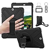 """Galaxy Tab S2 9.7 Case - Dropproof Shockproof Heavy Duty Tablet Cover Rotatable Kickstand Handle Stand Hand Strap Shoulder Belt Carrying Case for Samsung SM-T810/T813/T815/T817/T818/T819 9.7"""" Black"""