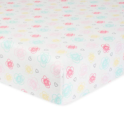 Gerber Baby Boys and Girls Newborn Infant Baby Toddler Nursery Organic Cotton Fitted Bedding Crib Sheet, Multi Floral, One Size