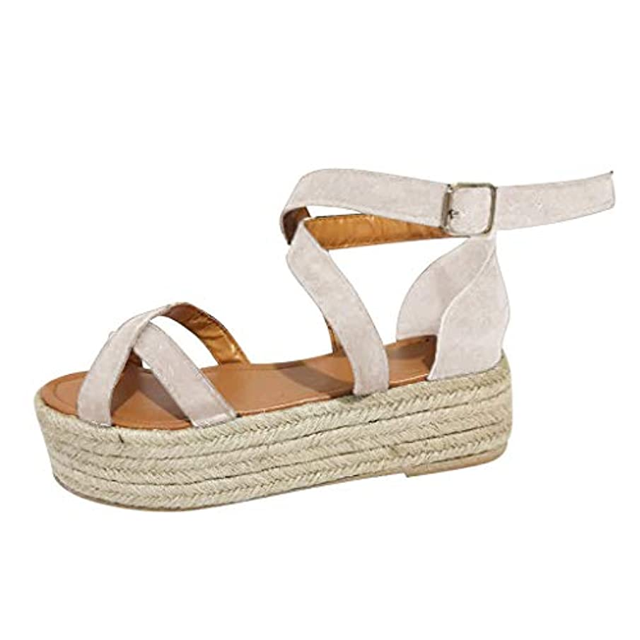 Matasleno 2019 New Women's Espadrille Wedge Sandals Braided Jute Ankle Buckle Platform Sandals 35-43