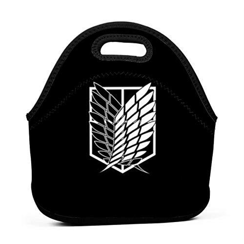 Lunch Bag Tragbare Tragetasche Bento Pouch Die Flügel der Freiheit Attack (-On-) Titan Lunchbox Bag Multifunktionales Reißverschlusspaket für die Arbeit im Büro Bürohandtasche