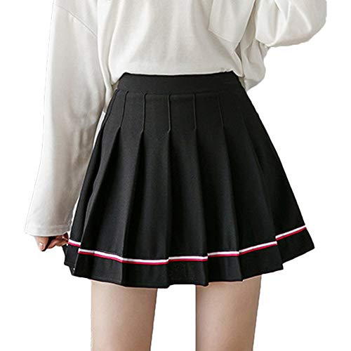 Women Girls Short Skirts Striped High Waist Pleated Skater Tennis School Skirt (Black, M)