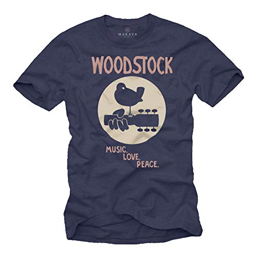 MAKAYA Woodstock T-Shirt Herren - Music Love Peace - Blau 60s 70s 80s Geschenke für Musiker Männer Größe L