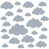 PREMYO 25 Nubes Pegatinas Pared Infantil - Vinilos Decorativos Habitación Bebé Niños - Fácil de Poner Gris