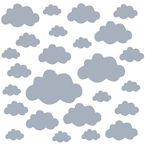 PREMYO 25 Wolken Wandsticker Kinderzimmer Mädchen Jungen - Wandtattoo - Wandaufkleber Selbstklebend Grau