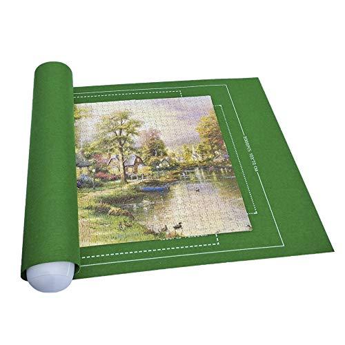 Vikbar filt pusselmatta med storleksguide, 140 x 100 cm återanvändbar pusselmatta rulle miljövänlig hållbar — upp till 3 000 stycken (grön)