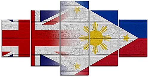 Gedruckte Wand auf Leinwand Wohnzimmerdekoration Wandbild hochauflösendes Bild Poster 5 Stück britische, britische, philippinische, philippinische Flaggen(Rahmenlos)