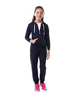 Kady Front Pocket Contrast Drawstring Hooded Jacket with Elastic Cuff Pants Cotton Tracksuit for Kids