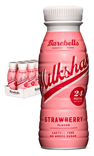 Barebells Protein Milkshake Erdbeere (Strawberry) 8 x 330 ml Mit hohem Proteingehalt Ohne Zuckerzusatz Laktosefrei 24 g Protein Herrlich cremig im Geschmack