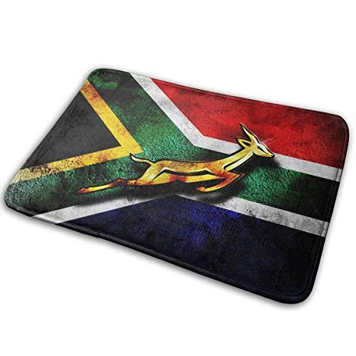 Not Applicable Fußmatten, Südafrika Flagge Afrikanisches Emblem Springbock Eingangstürmatte Badboden Home rutschfeste Fußmatte Outdoor-Bodenteppiche 40x60cm