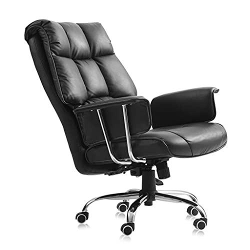 Sedia Ufficio Desk Gaming Computer Desk Chair, PU In Pelle Traspirante Imbottito Sedile Imbottito Ergonomico Girevole Con Supporto Lombare Ascensore Regolabile 3D Bracciolo , Per Studio Ufficio, Nero