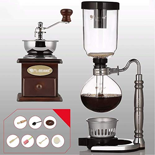 Manual Coffee Grinder -Siphon Cafetera Conjunto Sifón Smouse tótem del zodiaco Sifón Jarra Cafetera 3 tazas, 110 * 352mm de vacío máquinas de café Haike WTZ012