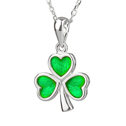 Irish Shamrock Kette - Irisches Kleeblatt aus Sterling Silber & grüner Emaille