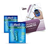 ReliOn Micro-Thin Lancets, 100 Count, 33 Gauge for Micro Sampling +'Look After Your Diabetes' - Better Idea Guide (2 Pack)