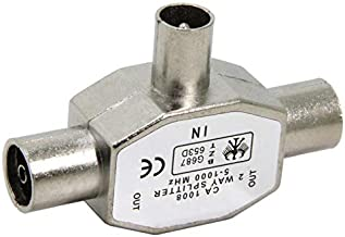 1 Input to 2 Outputs RF TV Freeview//Push Style//for Coaxial Cable Adaptor Lead Cord//Frequency Range 5-1000 MHz//RF Socket 2 x Male RF Plugs MainCore 2 Way Aerial Splitter
