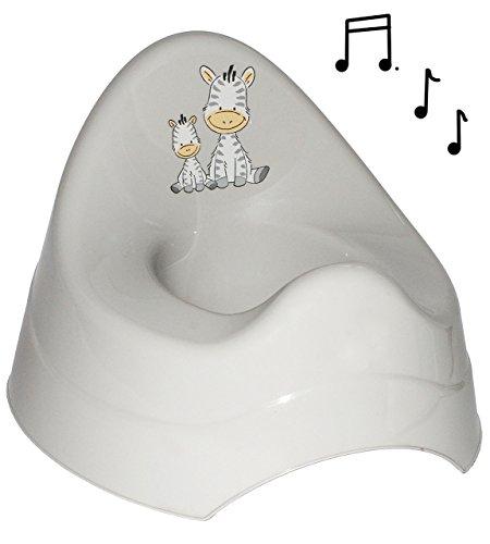alles-meine.de GmbH Töpfchen / Nachttopf - mit Musik / Sound - groß - mit großer Lehne + Spritzschutz -  Zebra  - grau - Babytöpfchen / Kindertopf / Lerntöpfchen - Toilettentra..