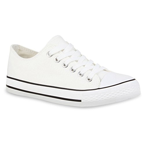 Stiefelparadies Donna Sneakers Basse Pizzo 131376 Bianco 37 Flandell