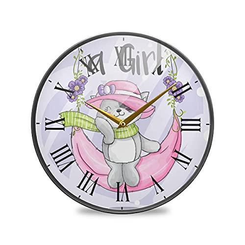Lindo Gatito Luna Rosa Columpio Arte Reloj de Pared Silencioso Decorativo Relojs para Niños Niñas Cocina Hogar Oficina Escuela Decoración