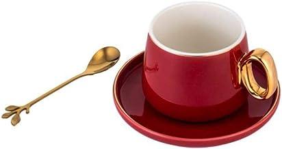طقم سيراميك مكوّن من 3 قطع فنجان وطبق من السيراميك مع ملعقة - أحمر